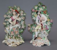 A near pair of Derby figures tallest 20cm