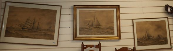 H A H 1914, three charcoal and ink marine studies, Yacht Vidar; Fishing boat off the coast and