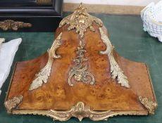 A Louis XVI style walnut gilt mounted clock bracket width 34cm