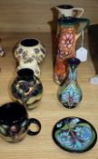 Two Moorcroft ewers and six smaller pots