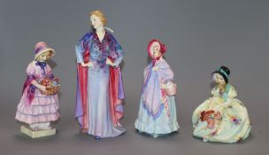 Four Royal Doulton figures: Greta HN1485, Monica HN1458, The Little Mistress HN1449 and Clotilde