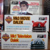 Doctor Who - Comet miniatures, three 1:8 scale model kits; Mk3 Movie Dalek CM010, Mk1 Television
