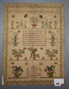 An 1827 sampler, unframed 43 x 33cm