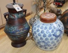 A Chinese enamelled bronze vase and a blue and white vase