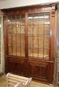 A 19th century French mahogany library bookcase W.180cm