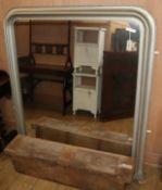 A Victorian silvered overmantel mirror W.134cm