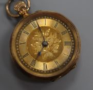 A lady's continental 18k fob watch, with Roman dial.