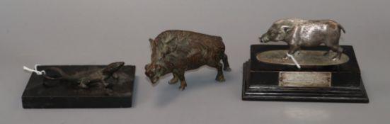 A 1935 Delhi Horse Show trophy modelled as a boar mounted on a plinth, a bronze model of a boar
