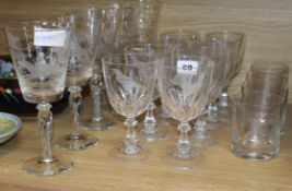 A group of hunting/game etched glasses