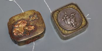 Two small Japanese decorative metal boxes with hinged covers, one of shaped square form in