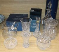 A Bohemia Crystal bowl and mug (both boxed) and a collection of other cut crystal and glass,