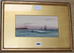 Aderne Clarence (1882-1966) watercolour, Fishing boats off the coast, initialled, 13 x 25cm