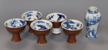 A Chinese blue and white vase and five 'dragon' stem cups vase height 14cm