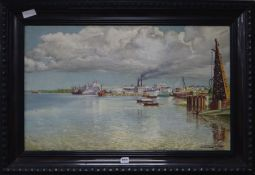 E. Buscaglia, oil on canvas, View of an estuary and docks, signed and dated 1936, 48 x 78cm