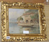 Varli, oil on card, Italian lake side houses, signed, 22 x 28cm