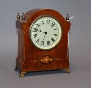 An inlaid mantel timepiece height 18cm