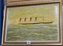 English School, oil on board, Liner in heavy seas, indistinctly signed, 30 x 47cm