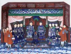 Guangzhou School (mid-19th century), gouache of an Imperial court scene, cut out and laid on