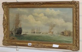 E. Rodins (late 19th C.) oil on canvas, Shipping in Portsmouth Harbour, signed, 29 x 60cm