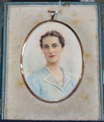 G. de Luca, oil on ivorine, Miniature portrait of a lady, signed, 10.5 x 8cm, leather cased