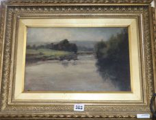 G. T. Scott, oil on board, Aire Valley from near Bankfield, signed and dated '96, 22 x 34cm