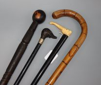 Four various walking canes, one with an ivory handle