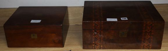 An inlaid walnut writing slope and a rosewood jewellery box