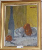 20th century British, oil on canvas, Still life, Crane Kalman Gallery label verso, 50 x 40cm