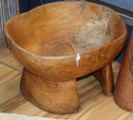 An African elm wood pedestal bowl length 49cm