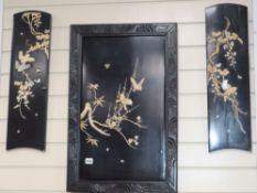 A Japanese Meiji shibayama panel (framed) and a pair of similar shaped smaller panels, variously