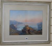 Gaetano Dura (1805-1878) gouache, Hillside shrine overlooking the Italian coastline, signed, 30 x