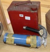 A vintage petrol can and a Waterloo fire extinguisher height 33cm