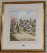 John Lewis Chapman, watercolour, Ombusley, Worcestershire, signed, 30 x 25cm