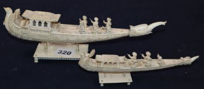 Two Indian carved ivory boat groups