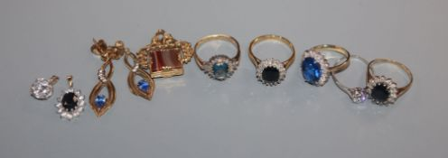 An 18ct gold, sapphire and diamond ring, a plat and diamond ring(a.f.), a 585 ring, two 9ct rings, 3