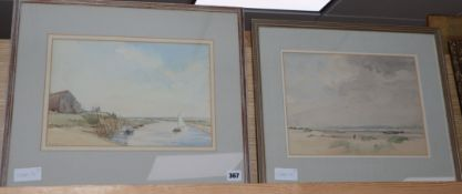 Ronald Gray (1868-1951), two watercolours, Blakeney, A Backwater and Beach scene, one signed, 24 x