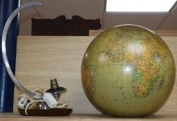 A German J.R.O. illuminating terrestrial globe, on stand stand 44cm