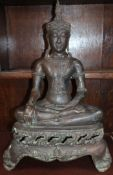 A cast bronze seated Buddha height 56cm