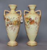 A pair of 19th century Royal Worcester blush vases, c.1760 height 38cm