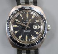 A gentleman's 1970'S stainless steel and base metal Oris waterproof divers? manual wind wrist watch,