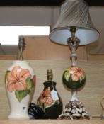 Three Moorcroft lamps tallest 55cm cm incl. shade