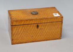 A George III inlaid satinwood tea caddy length 31cm