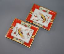 A pair of Hermes ashtrays, one chipped width 19cm