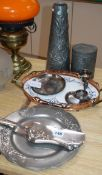 Eight pieces of Arts & Crafts metalware tallest 29cm