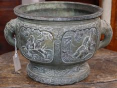 A 19th century large Chinese bronze censer