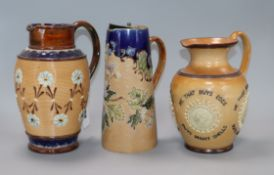 Three Doulton stoneware jugs tallest 21cm