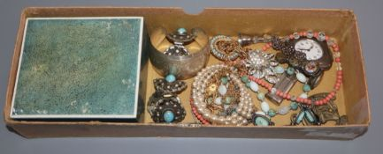 A shagreen box and assorted jewellery including a small silver cased travelling timepiece.