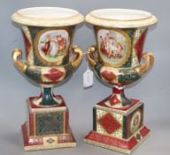 A pair of large Vienna-style campana vases and pedestals height 40cm