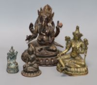 A bronze Ganesh, a Buddha and two others (4) tallest 19.5cm
