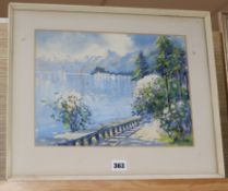 Italian School, watercolour and gouache, Lakeside scene, indistinctly signed Gianni, 25 x 33cm